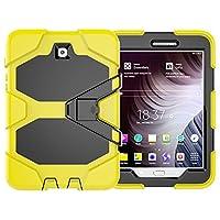 Samsung Galaxy Tab S2 8.0 / Galaxy Tab S2 9.7 / Galaxy Tab E 8.0 ケース 高耐久 頑丈 フルボディーハイブリッド耐衝撃 落下保護カバー キックスタンド付き (Galaxy Tab S2 8.0, イエロー)