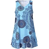 Womens Plus Size Print Midi Dress Loose Shift Sleeveless Tank Vest Sun Dress