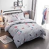 warmgo軽量羽毛布団カバーセット大人用子供用100%ポリエステル旅行猫さんパターンデザイン寝具セット布団カバー/ベッドリネン掛け布団は含みません) Twin Size Mu-YSJF-13-1