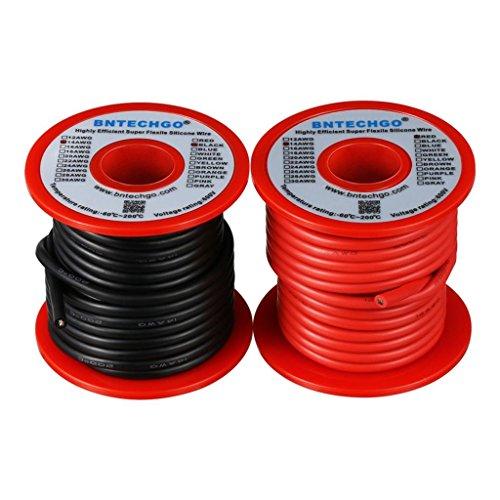 BNTECHGO 14ゲージ シリコーンワイヤー 超柔軟性 フレキシブルシリコーンケーブル線 7.7mブラックと7.7mレッド 長さ延べ15.4メートル 断熱範囲温度: - 60 °C + 200 °C 600ボルト 14AWGシリコーン細線 400本 錫めっき銅線 シリコーンゴム電線 自動車用 RCモデル用 リード線