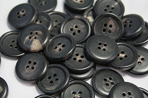 水牛ボタン770(COLOR.8ツヤ無しブラック白い斑点入) 15mm紳士服スーツジャケット袖口・袖ボタン