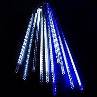 電光ホーム イルミネーション スノーフォール ライト つらら [ 流れる光 両面発光 フラッシュ ] 屋外 防水 防雨 クリスマス DIY LEDチューブ 50cm×10本 (ホワイト&ブルー)