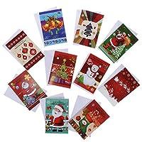 Perfeclan 10枚 グリーティングカード 封筒 Xmas ギフトカード メリークリスマス カード 2タイプ選べ - B