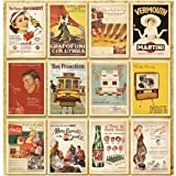 [Neustadt] ヴィンテージ風 レトロアメリカン ポスター柄 ポストカード 32枚セット