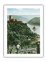 ドイツへの旅 - Fuerstenberg城跡 - ライン渓谷 - ビンテージな世界旅行のポスター によって作成された F.クラッツ c.1950s - プレミアム290gsmジークレーアートプリント - 30.5cm x 41cm