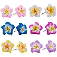 Hawaiian Foam Artificial Plumeria Earrings Set for Little Girls Kids- Flower Stud Earrings Made of Polymer Clay, Children's Jewelry Set of 6