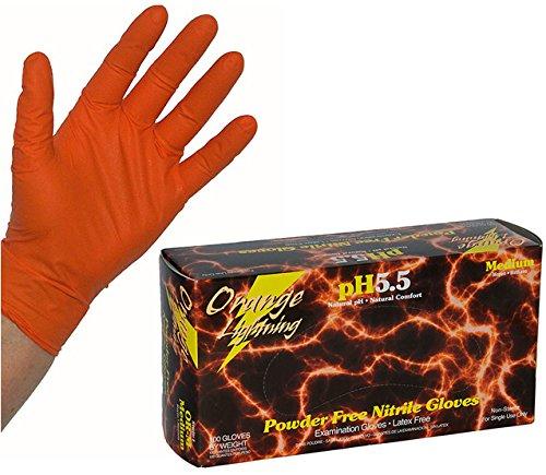 """[해외]""""오렌지 번개 `고기능 니트릴 장갑 M 사이즈 2 박스 (50 쌍 입 x2)/""""Orange Lightning"""" high-performance nitrile glove M size 2 boxes (50 pairs in x 2)"""