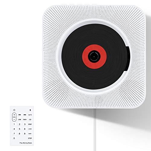 CDプレーヤー VIFLYKOO 新型 置き&壁掛け式 Bluetooth/FM/USB対応 ポータブルCDプレーヤー コンパクト ハイビジョンスピーカー内蔵 家庭用 ステレオ音楽システム 音楽再生/語学学習/胎児教育 リモコン付き 日本語説明書付き