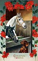 アンティーククリスマスアート~ Poinsettia Flower Border ~馬で安定withダックスフンド子犬犬~ 6パック新しいマットヴィンテージ画像Large空白ノートカード封筒付き