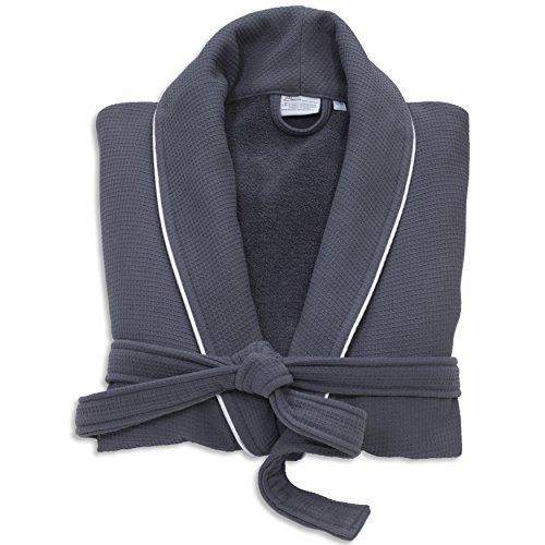Linumホームテキスタイルユニセックスヘリンボーン織りバスローブプレミアム100%本物のトルココットンホテルコレクションローブ L / XL WT96-00-LX
