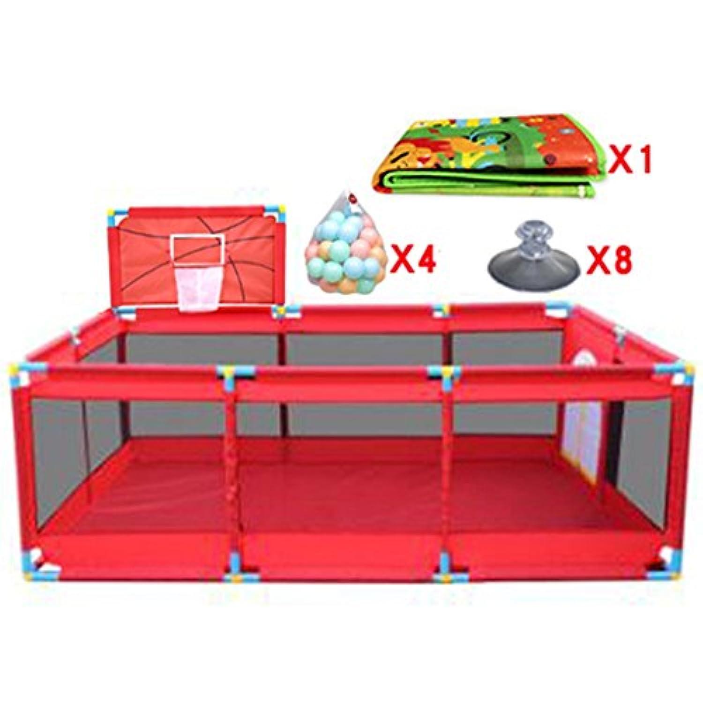 バスケットボールフープ/ボール付大型ベビープレイペンFoldable Kids Play Pens 10パネル子供用アクティビティセンターRoom Fitted Floor Mats、Red