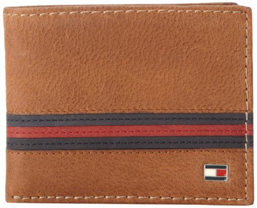 Tommy Hilfiger Men's Leather Passcase Wallet With Removable Card Holder - Beige - One Size