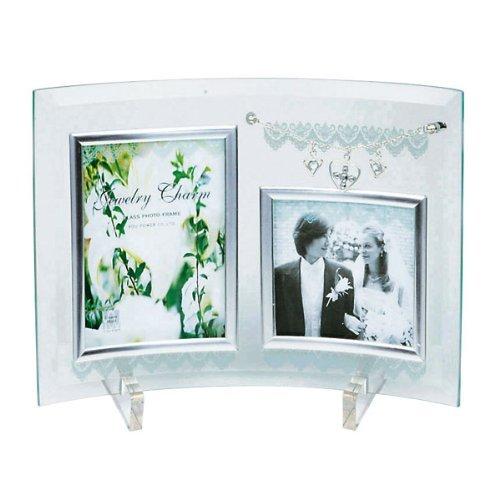 写真立て 卓上用 ジュエリーチャームガラスフォトフレーム 2ウィンドー GF-02051 ご結婚祝い ギフト ブライダルフォト