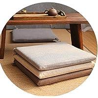 和風シンプルなコットンリネンクッション クッション夏 通気性畳の窓クッション,ホワイト,45cm * 45cm * 4cm