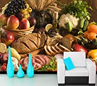 Lcsyp カスタム3D壁紙、レストランホテルキッチン背景家の装飾的な絵画のための果物と野菜の食品生壁画-350X245CM