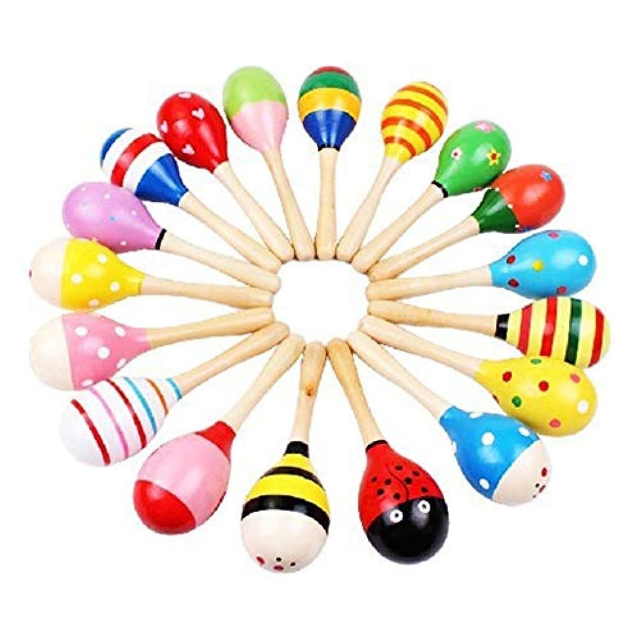 損なう道路委任するベビー用品 幼児のおもちゃ CZ 3 PCSカラフルな木製ベビー子供楽器ラトルシェーカーパーティー子供のギフトのおもちゃ(色ランダム) (色 : Color Random)