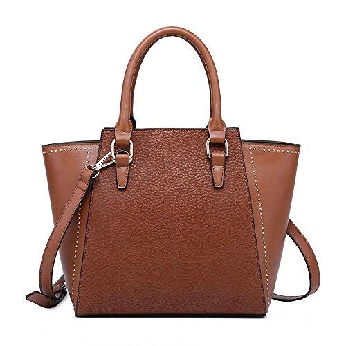 [SHOMICO] トートバッグ 通勤バッグレディース大容量 a4メッセンジャー革ショルダーバッグ大きい婦人バッグ人気 (褐色, M)