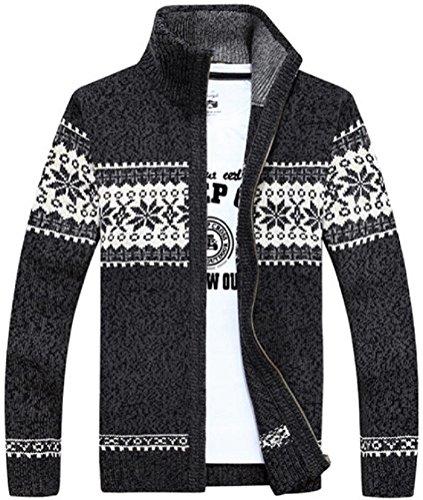 【Smile LaLa】 メンズ ニット セーター ジャケット カーディガン 長袖 冬 カウチン 柄 大きい サイズ (グレー, L)