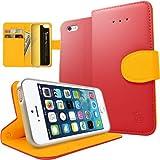 iPhone5 / 5S  高級合皮革レザー  カード入れ(スロット)付き・折りたたみ式・手帳型 ケース カバー Case cover フリップタイプ with キックスタンド (ホットピンク)
