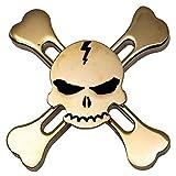 【Letitfly】ハンドスピナー アルミ製 髑髏 海賊 指スピナー Hand Spinner スピン ウィジェット フォーカス 超耐久性の高速度玩具 ハンド ボールベアリング 高速 子供大人に適用/Fidget Spinner Toy 2-4分平均スピン (金色)