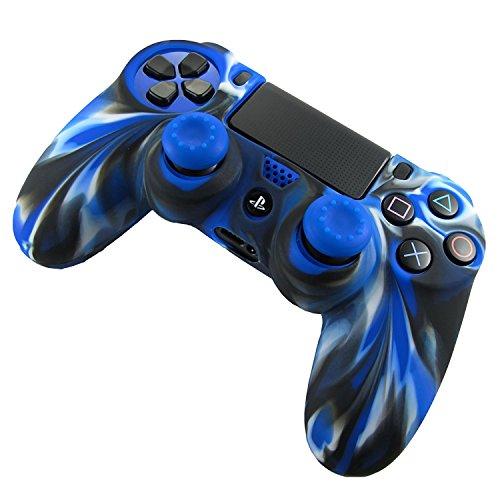 プレイステーション4 PS4 コントローラー用シリコン保護カバー 耐衝撃 高品質 簡単装着 Sony Playstation 4 コントローラー用シリコンケース ハンドル帽付け タッチペン付き ブルー