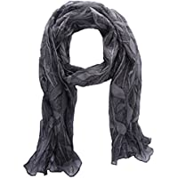 Chicwe Women's Plus Size Floral Embossed Crepe Chiffon Scarf Shawl