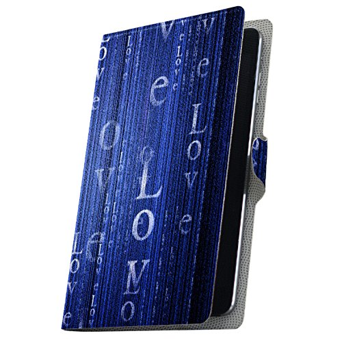 タブレット 手帳型 タブレットケース タブレットカバー 全機種対応有り カバー レザー ケース 手帳タイプ フリップ ダイアリー 二つ折り 革 青 ブルー 英語 文字 006741 Fire HDX Amazon アマゾン Kindle Fire キンドル