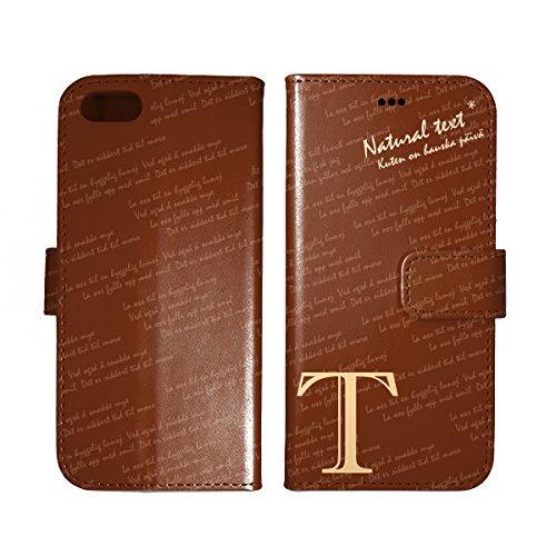 手帳型 iPhone8 ケース ロゴ 英字 T アルファベット 茶 アイフォン8