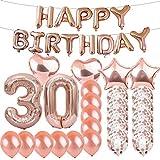 スイート30歳の誕生日デコレーション パーティー用品 ローズゴールドナンバー30バルーン 30番ホイルマイラーバルーン ラテックスバルーンデコレーション 女の子、女性、男性、写真撮影用小道具