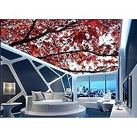 Lcymt 3D天井壁画の壁紙カエデの壁の天井のリビングルームの壁紙のための3D壁紙3Dの写真の壁紙の天井-280X200Cm