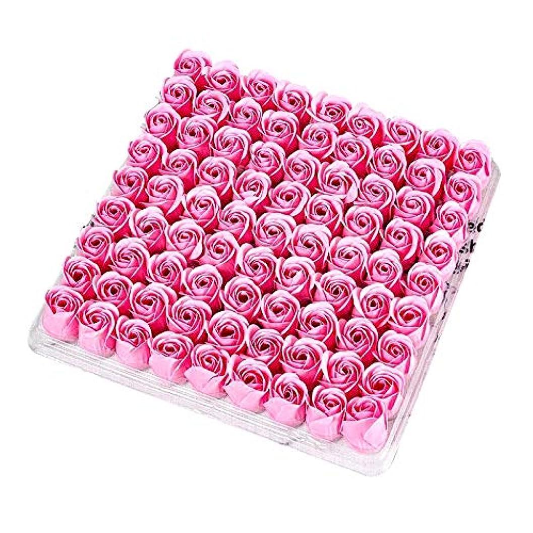 自然公園仲人不規則性ACAMPTAR 81個の薔薇、バス ボディ フラワー?フローラルの石けん 香りのよいローズフラワー エッセンシャルオイル フローラルのお客様への石鹸 ウェディング、パーティー、バレンタインデーの贈り物、ピンク