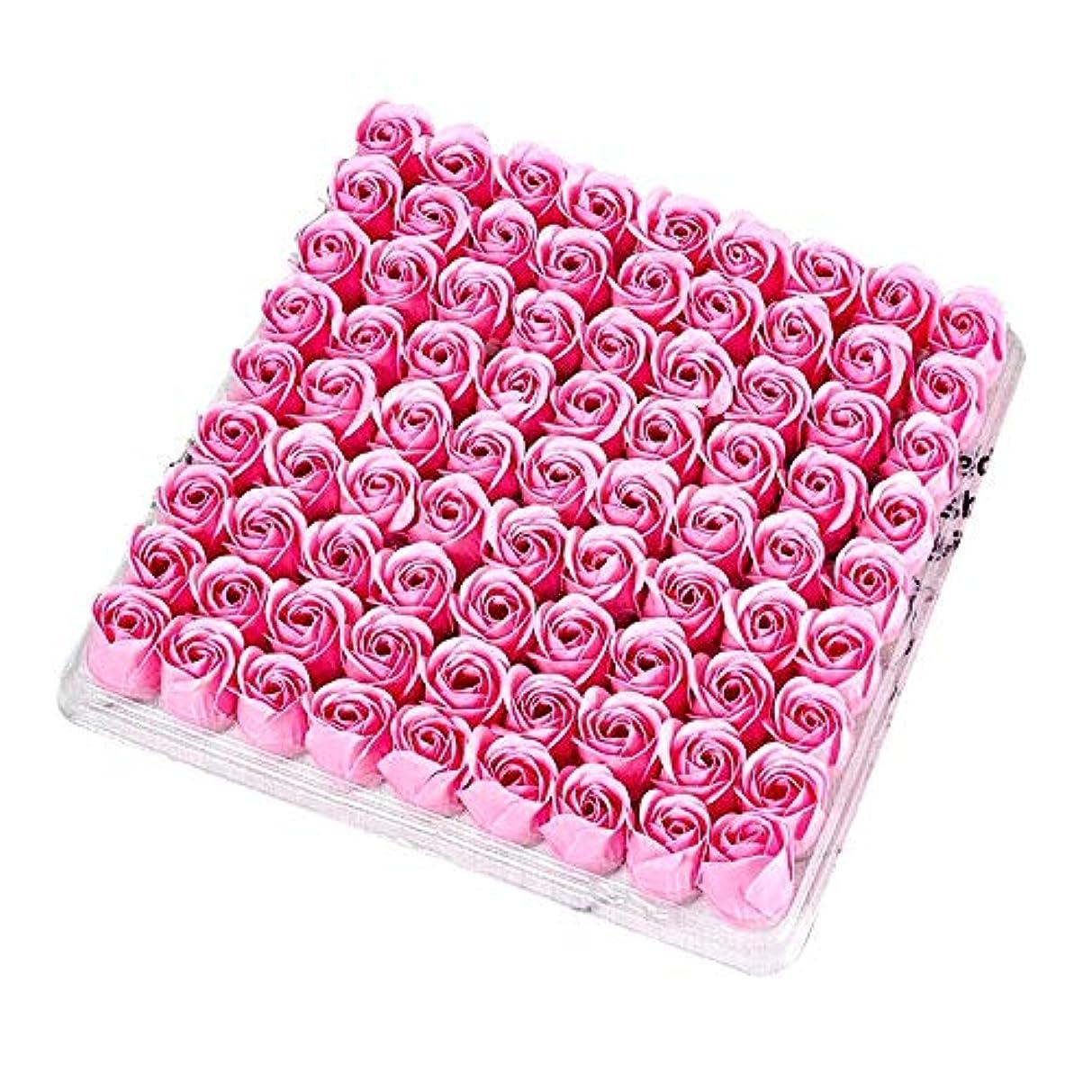 ユーモアエントリ忠実にACAMPTAR 81個の薔薇、バス ボディ フラワー?フローラルの石けん 香りのよいローズフラワー エッセンシャルオイル フローラルのお客様への石鹸 ウェディング、パーティー、バレンタインデーの贈り物、ピンク