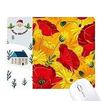 キャンバスの花の植物画ヒナゲシ サンタクロース家屋ゴムのマウスパッド