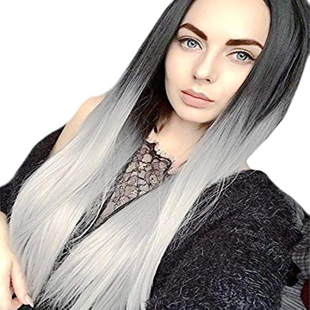 繊毛偽無一文Summerys 女性のためのロングストレート層状耐熱性合成毛髪のかつらセンター別れと人工的な女性のかつら