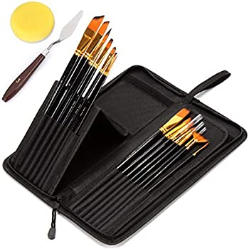 バリイチゴ屋 油絵の具セット 油絵筆セット 美術 画材 画筆17本セット 画筆スタンド 可能 収納ケース付き