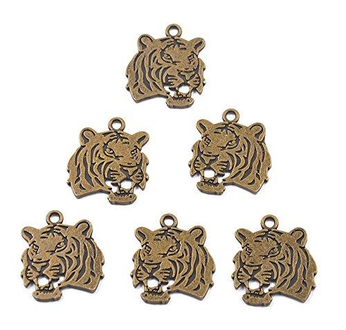 [해외]노 명품 합금 펜던트 매력 호랑이 형 (골동품 청동) 6 개/No brand item alloy pendant charm tiger type (antique bronze) 6 pieces