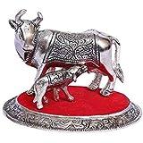 Fashion Bizz Oxidized White Silver Metal Religious Cow And Calf Handmade Handicraft For Home Decor Gift Item