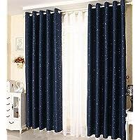 Enipate 遮光カーテン 1級遮光 遮熱 星柄 おしゃれ 可愛い 遮像 断熱 防音 2枚組 4サイズ 2カラー