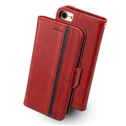 iPhone8 ケース 手帳型 iPhone7 iphone6s - Rssviss アイフォン6 6s 7 8 四機種対応 サイドマグネット カード収納 Qi充電対応 横置き機能 ストラップ通し穴 高級PUレザー (iPhone6/6s/7/8に対応) W5 レッド4.7inch