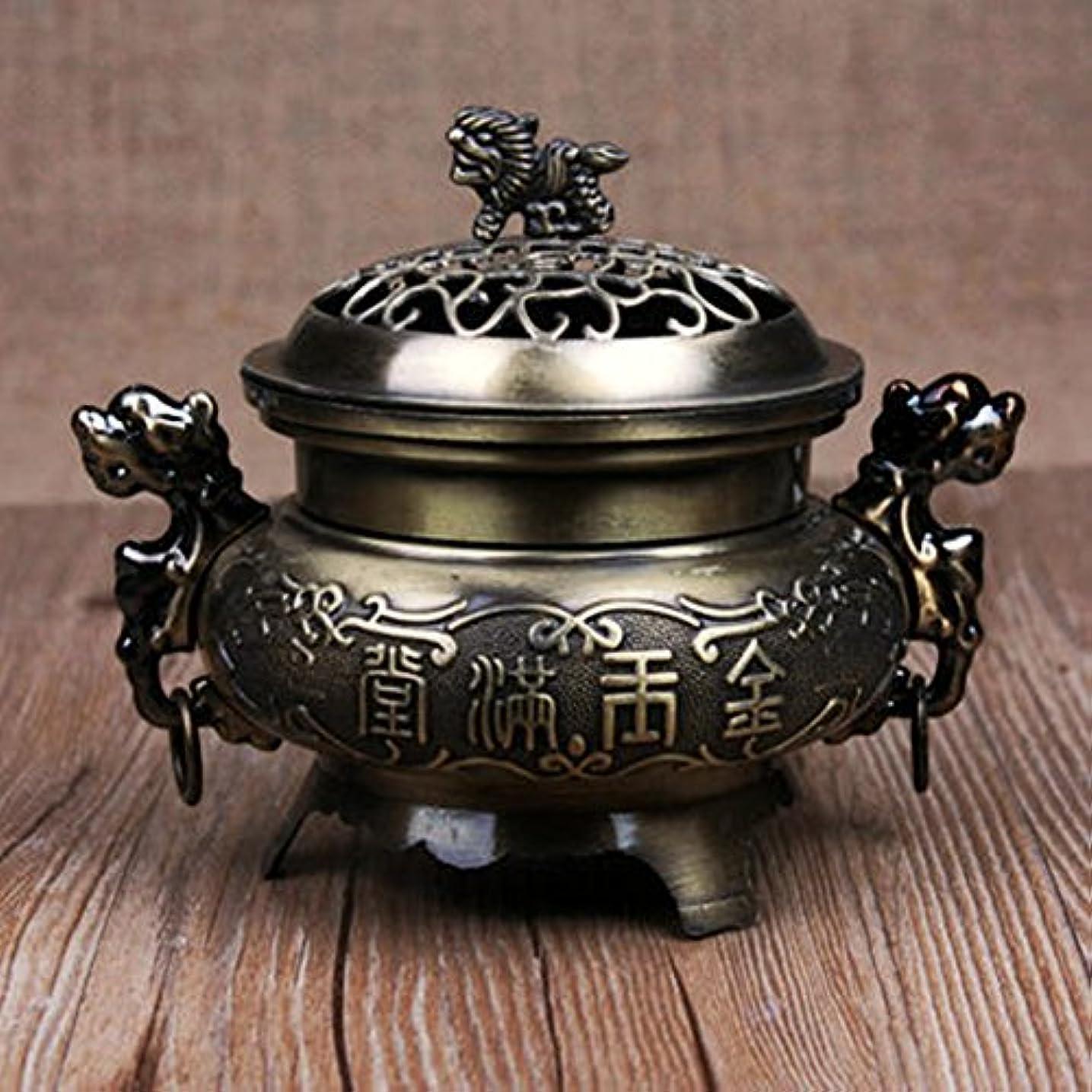 プレゼンテーション細い寝具Liebeye レトロスタイルの合金香炉 バーナーダブルドラゴン 中空カバー香炉 ホームデコレーション 青銅色