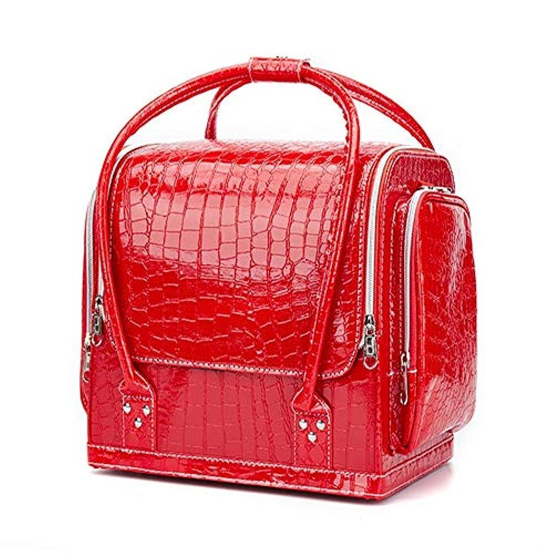 安全な毛布偉業化粧オーガナイザーバッグ ポータブルプロフェッショナルpuレザー旅行メイクアップバッグパターンメイクアップアーティストケーストレインボックス化粧品オーガナイザー収納用十代の女の子女性アーティスト 化粧品ケース (色 : 赤)