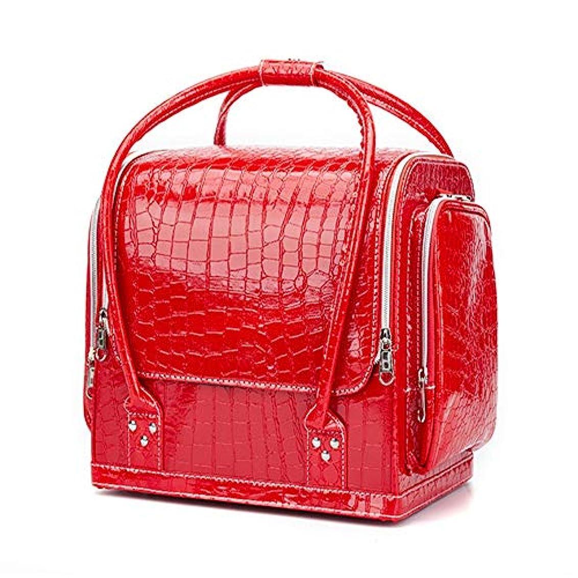 しみ振る襟化粧オーガナイザーバッグ ポータブルプロフェッショナルpuレザー旅行メイクアップバッグパターンメイクアップアーティストケーストレインボックス化粧品オーガナイザー収納用十代の女の子女性アーティスト 化粧品ケース (色 : 赤)