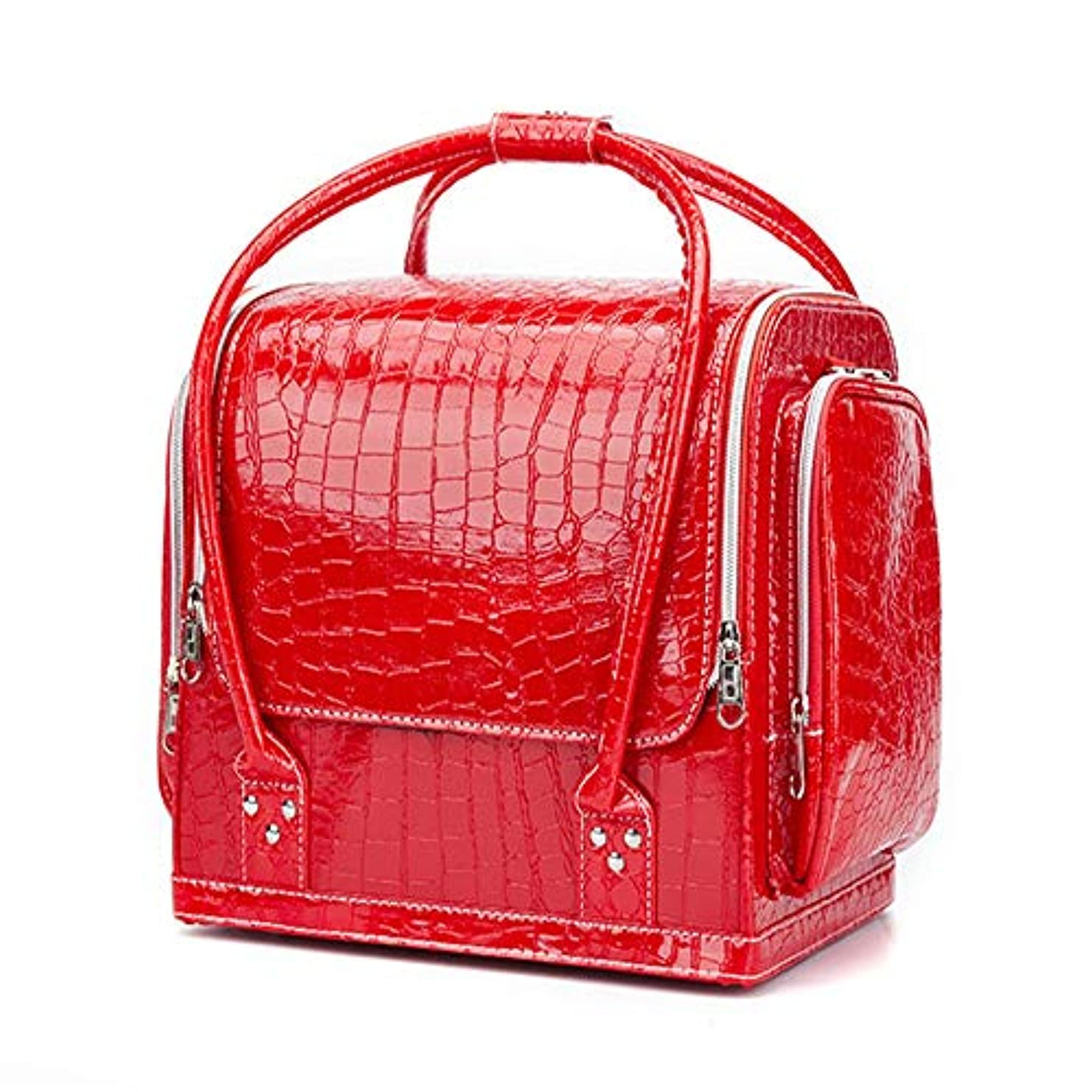 化粧オーガナイザーバッグ ポータブルプロフェッショナルpuレザー旅行メイクアップバッグパターンメイクアップアーティストケーストレインボックス化粧品オーガナイザー収納用十代の女の子女性アーティスト 化粧品ケース (色 : 赤)