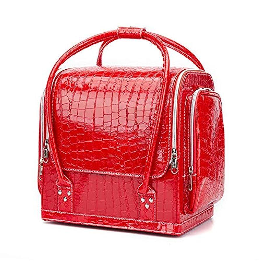 脱獄食品十代の若者たち化粧オーガナイザーバッグ ポータブルプロフェッショナルpuレザー旅行メイクアップバッグパターンメイクアップアーティストケーストレインボックス化粧品オーガナイザー収納用十代の女の子女性アーティスト 化粧品ケース (色 : 赤)