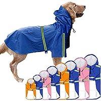 犬 レインコート 帽子付き 防水 ペット服 かわいい 梅雨対策 雨具 雨の日 反射テープ付き 犬用ポンチョ マッジクテープ 通気性 ペット用品 防水服 小犬・中犬・大犬に適用 二足服 着せやすい ドッグウェア ポケット 大人気つなぎレインコート 雨の日のお散歩に (S, ブルー)