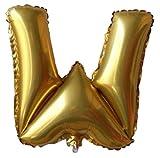 Plus Nao(プラスナオ) アルファベットバルーン 風船 英語 英字 アルミ風船 AからMまで 1文字 メッセージ 記念日ギフト バルーンギフト ウエ ゴールド F