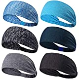 A-code Workout Headbands, Men's Sweatband, Women's Yoga Athletic Hairband for Sports Fitness Running Elastic Non Slip Sport Headband,6 Pack (Quantity 6-02)