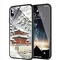 iPhone X ケース, iPhone XS ケース, と互換性のある強化ガラスバックカバーソフトシリコンバンパー iPhone X/XS AMA-92 浮世絵東京日本美術