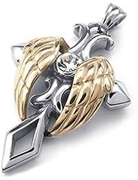 SODIAL ( R )ジュエリーステンレススチール天使の翼クロスペンダント50 cmネックレスメンズネックレス、シルバー、ローズゴールド