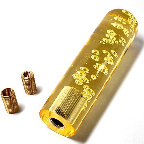 クリスタル 泡 バブル 入り ラウンド 丸型 シフトノブ カーパーツ エクステンション ネジ口径 12mm 10mm 8mmと調節可能 AT MT 車 対応 全長 15cm 黄色 Bluemoonhouse